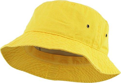 KBETHOS KB-BUCKET1 YEL Unisex 100% Washed Cotton Bucket Hat Summer Outdoor Cap - Mens Bucket Hats
