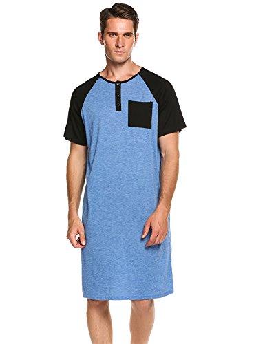 Ekouaer Men's Nightshirt Cotton Nightwear Comfy Big&Tall Short Sleeve Henley Sleep Shirt (C-Navy Blue, X-Large)