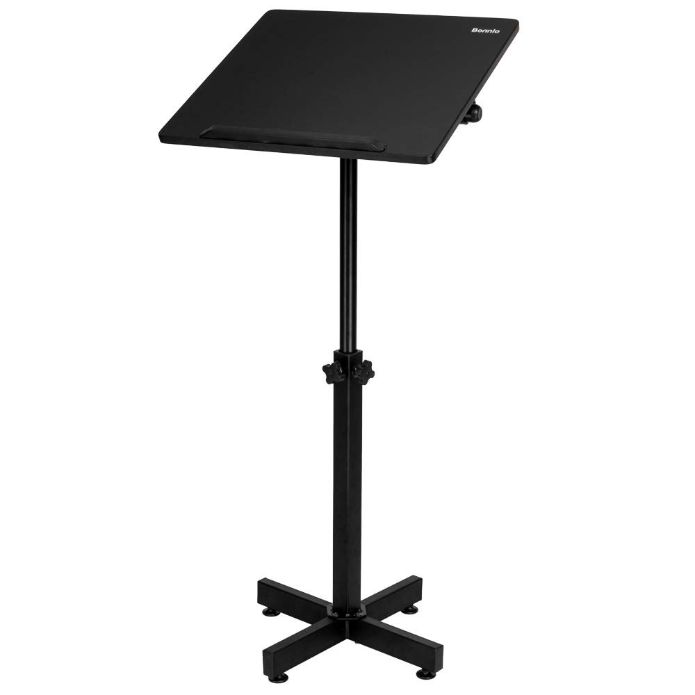Bonnlo Mobile Lectern Podium Stand, Height Adjustable Church Classroom Lecture, Portable Presentation Concert Podium, Multi-Function Reading or Laptop Desk with Edge Stopper, Black