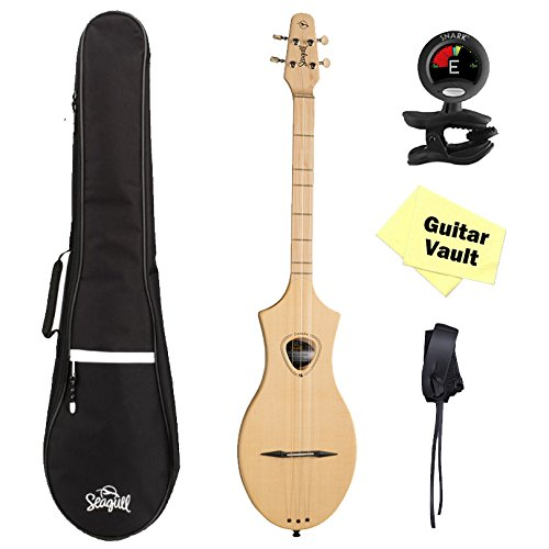 Seagull Merlin M4 Spruce guitarVault Package w/ Gig Bag, Tuner, Strap and Polishing Cloth (039227) by Seagull