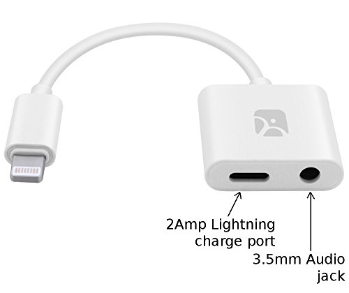Lightning to 3.5mm Audio Jack + 2Amp Charge Adapter for iPho