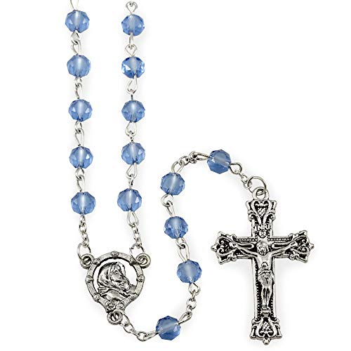 Rosary, Genuine Light Blue Crystal Beads and Oxidized ()