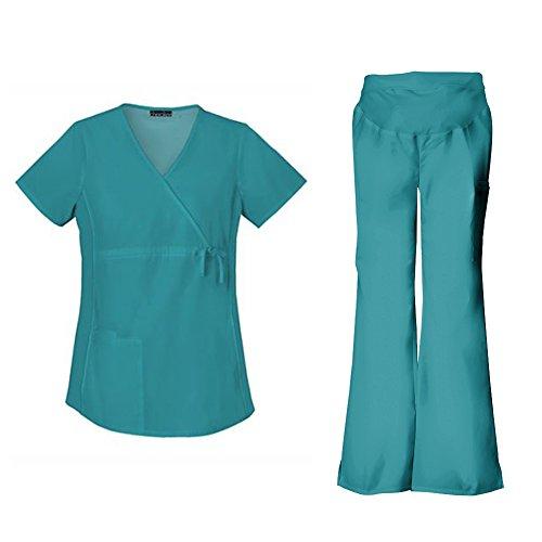 [Cherokee Flexibles Women's Maternity 2892 Top & 2092 Pant Medical Uniform Scrub Set (Teal Blue -] (Cute Uniform Outfits)