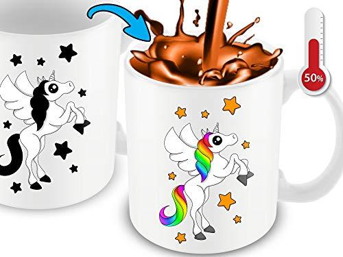 Cortunex Unicorn Color Changing Cup - 11 Ounce Funny Coffee Mug - Great Unicorn Gift For Mom,Women,Girls And Unicorn Lovers - Cute Mug - White Ceramic Heat Sensitive Changing Mug (11 Oz Cute Coffee Mug)