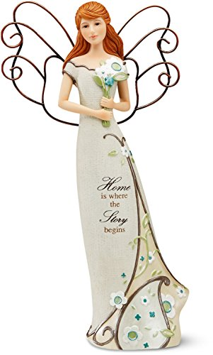 Religious Figurine Limited Edition (Perfectly Paisley Home Angel Figurine by Pavilion, 12-Inch Tall, Inscription Home Is Where The Story Begins)