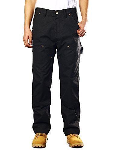 Men's Double Front Canvas Work Dungaree Cargo Pant Black 36