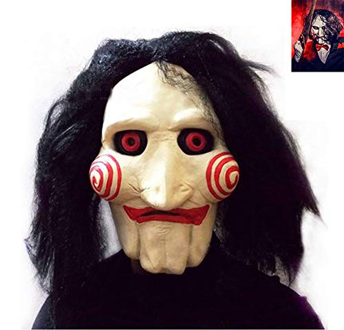 Junyulim Halloween Costume Latex Horror Clown Mask Super Lifelike Horror Horrifying Very Realistic Look, Soft and Comfortable. Meets Your Scare Criteria]()