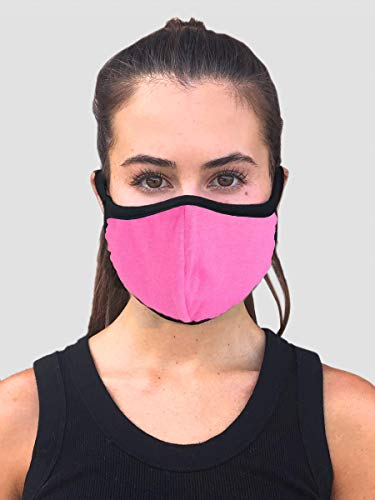 Designers Union Face Mouth Mask Dustproof Face UV Protective, Multi Layers Cover, Washable, Reusable Cotton Lite Weight Face Masks. Made in USA - (Fuchsia 1pc)
