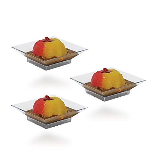 Green Square Cake Plate - Posh Setting Mini Collection, Mini Square Cake Plate, Heavyweight Clear Plastic, Elegant Disposable 2.5