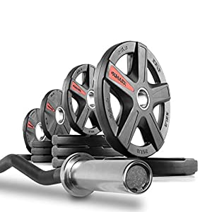 XMark 28mm Olympic EZ Curl Bar Brass Bushings with Texas Star 115 lb. Olympic Plate Weight Set, Triceps Press, Preacher Curls, Bicep Curl, Use with Preacher Curl Bench, Utility or Dumbbell Benches