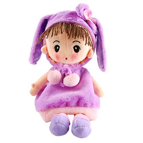 Houwsbaby Girl Rag Doll Stuffed Toy Soft Plush Bunny One-Piece Gift for Play Dress Up Kids Sleeping Partner, 18 inches (Purple)