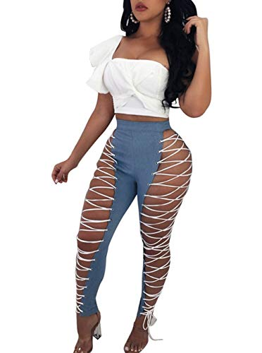 Nhicdns Women's Sexy High Waist Lace up PU Leather Leggings Pants Party Clubwear Bodycon by Nhicdns