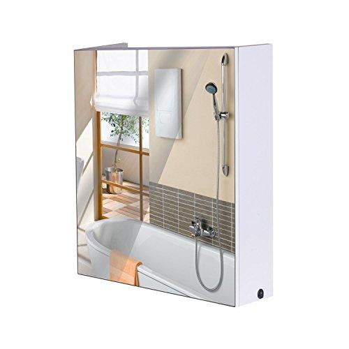 HomCom 24″ LED Single Door Bathroom Mirror Medicine Cabinet