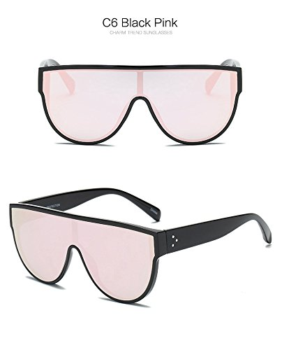 Lunettes NO No 9 Shades Pink siamois Fygrend style Red Rivets Femme Noir Violet 7 Oculos Marque soleil Lunette de Femmes Street Mode Lunettes Mirror Rose wqnBn0PUO