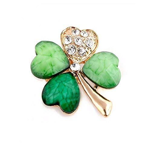 Eatting Irish Shamrock Gold Plated Four (4) Leaf Brooch Clover Rhinestone Lapel Pin,Gift Box