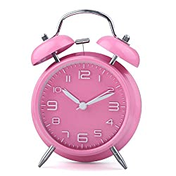 hito 4 Silent Non-ticking Pink Alarm Clock w/Nightlight and Loud Alarm