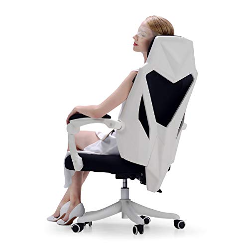 Hbada Office Adjustable Chair, High Back with Breathable Mesh Recline Desk Chair, - White Feel Rubber Diamond
