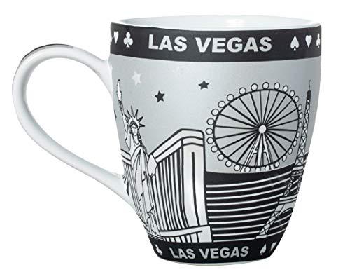 - City of Las Vegas Skyline Graphic Grey Metallic Accent Jumbo Ceramic Bistro Mug