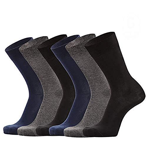 Solid Dress Socks - Men's 6 Pack Solid Cotton Business Dress Socks Black Wear-resistant Trouser Casual Crew Socks Navy