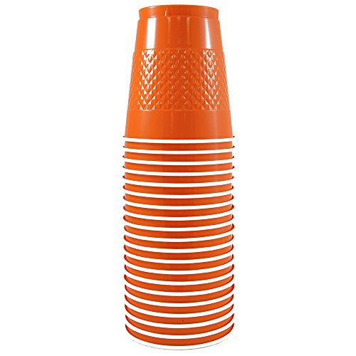 JAM Paper Plastic Party Cups - 12 oz - Orange - 20 Glasses/Pack