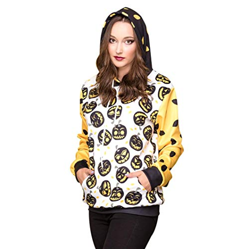 YANG-YI Hot, Women Halloween Pumpkins 5D Printing Hoodie Sweatshirt Pullover Top by YANG-YI