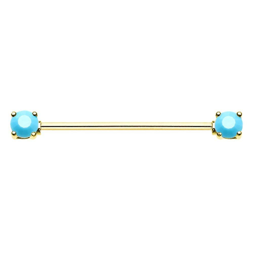 Covet Jewelry Golden Double Prong Turquoise Gem Industrial Barbell