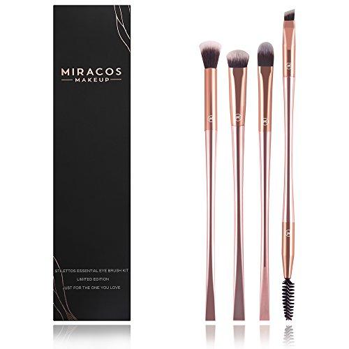 MIRACOS 4Pcs Eyeshadow Makeup Brush Cosmetic tool Set, Made With Soft, Durable Hairs, Eyeshadow Eyeliner Eyebrow Brushes Kit