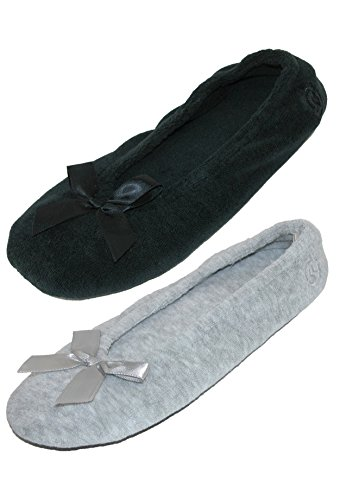 Isotoner Womens Terry Classic Ballerina Slippers (Pack of 2) Black and Grey ZwwDnEAJN