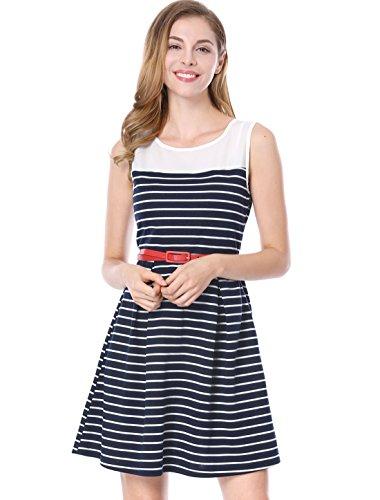 Allegra K Women's Chiffon Panel Stripe Short Sleeveless A-Line Dress with Belt Blue Medium