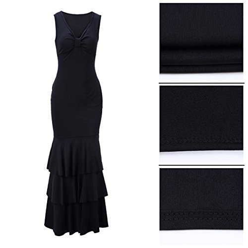 Gown for Dress Neck Maxi Black Sexy V Cocktail Ruffle Elegant Yiershu Party Bodycon Sleeveless Evening Women 7OgxwqnXt