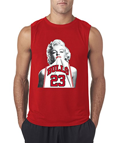 New Way 193 - Men's Sleeveless Marilyn Monroe Bulls 23 Jordan Jersey Large Red (Michael Jordan Washington Bullets Jersey 23 Throwback)