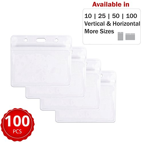Durable & Heavy-Duty ID Badge Holders ~ Premium Quality, Clear Plastic, Waterproof & Dustproof ~ for Work, Moms, Tours, Teachers, Events, Cruises & More (100 Pack, Horizontal) by Stationery King Durable Security Name Badge