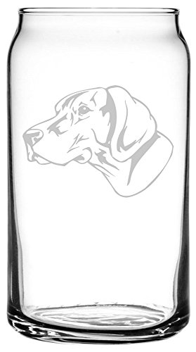 German Shorthaired Pointer (GSP) Dog Themed Etched All Purpose 16oz Libbey Can Glass