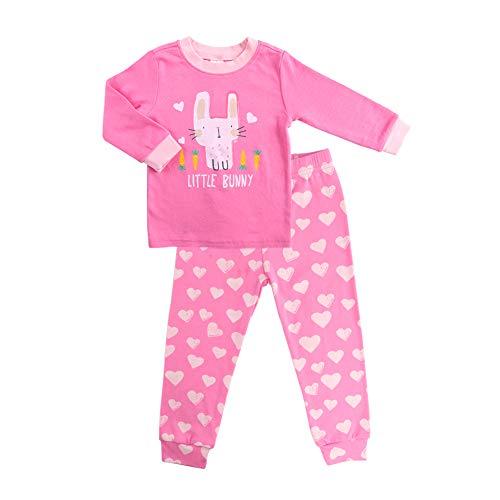 Minizone Girls Pajamas Set 100% Cotton Long Sleeve Pjs Clothes Kids Sleepwear Little Bunny