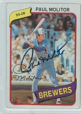 Paul Molitor Autograph (Paul Molitor AUTOGRAPH 1980 Topps#406 Milwaukee Brewers)