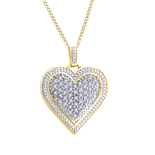 Jewel Zone US 1 Ct Round White Diamond Heart Pendant Necklace W/18'' Chain in 14K Gold Over Sterling Silver