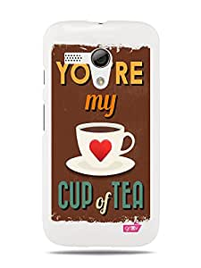 GRÜV Premium Case - 'Fun Cute Love Romantic Sweet : You're My Cup of Tea' Design - Best Quality Designer Print on White Hard Cover - for Motorola Moto G XT1032