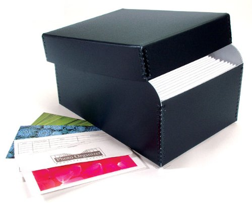Lineco Photo Storage Box, Holds 1000 3' x 5' or 4x6' or 5x7' Photos, Removable Lid with Photo Envelopes, Color: Black.