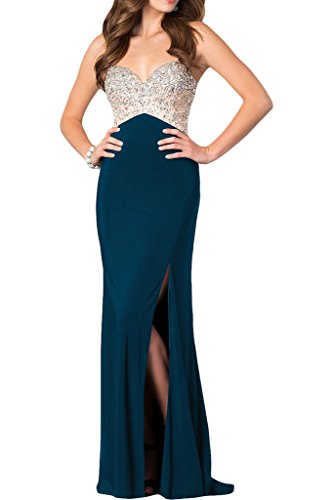 ivyd ressing Mujer de gran calidad brillantes Ranura para espaguetis Prom vestido Fiesta Vestido para vestido de noche Tintenblau