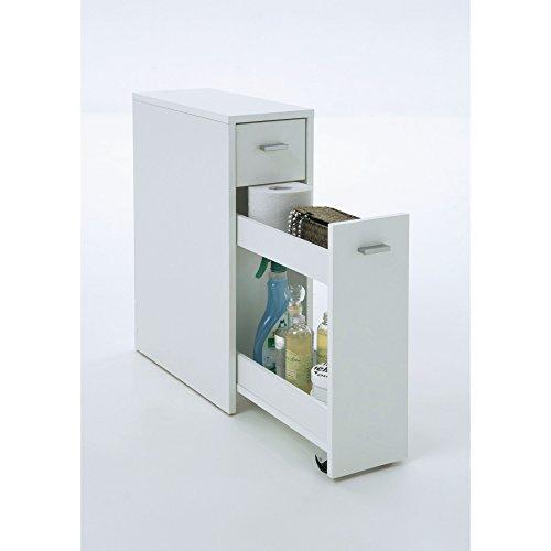 Schmaler Badezimmerschrank Mit Schublade Mdf Weiß Ca. T45 X B20 X ... Schmaler Badezimmerschrank