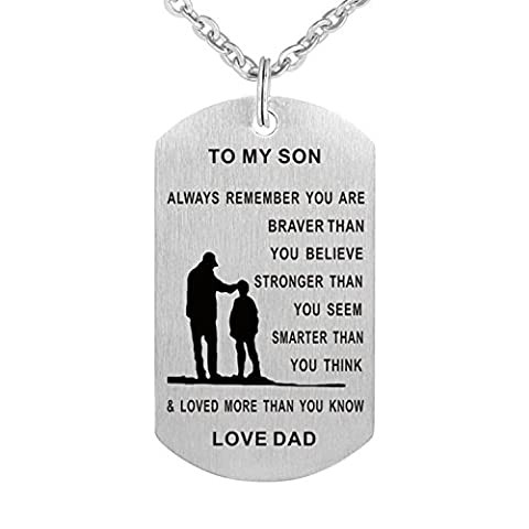 Inspirational pendant necklace Stainless steel Dog tag Always remember you are braver To my son/daughter - Stainless Dog Tag Fashion Necklace