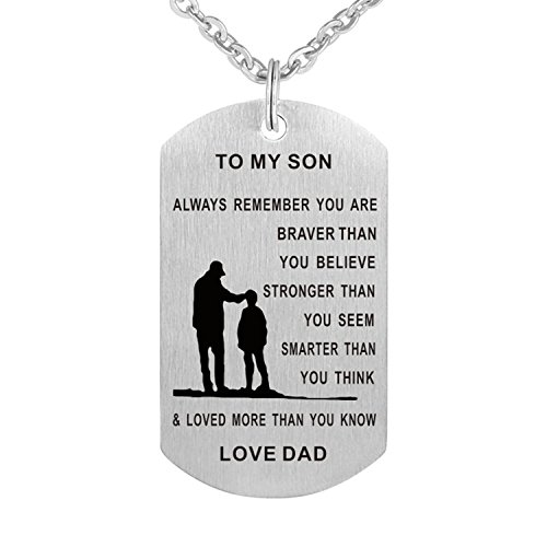 Burning Love Inspirational Pendant Necklace Stainless Steel Dog tag Always Remember You are Braver to My Son/Daughter