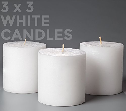 Melt Candle Company Set of 3 White Pillar Candles 3