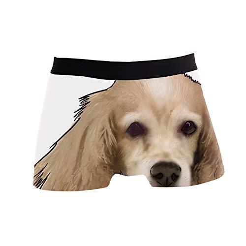 fael Men's Polyester Spandex Pouch Boxer Briefs Underwear,Dog Cocker Spaniel Printed Hipster Cocker Spaniel Dog Underwear