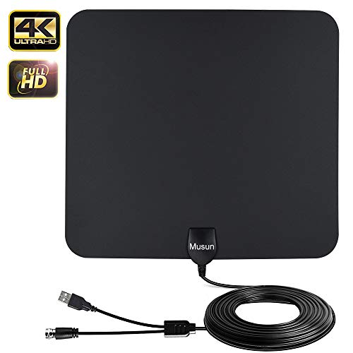 Digital Amplified HDTV Antennas Weather Resistant Support 4K UHF/VHF/1080P HD for Local Channels 50-65 Miles Range with Built-in Signal Amplifier Support All television-13ft Coax Cable [2019]
