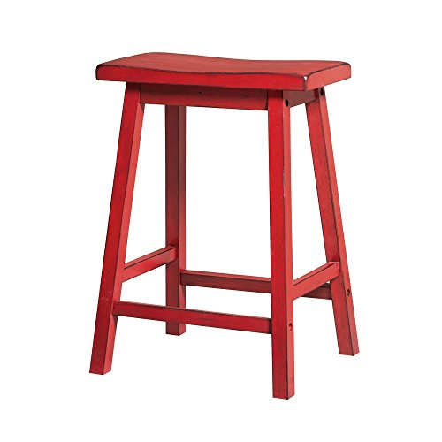 ACME Furniture Gaucho Counter Height Stool (Set of 2), Antique (Red Saddle Seat Bar Stool)