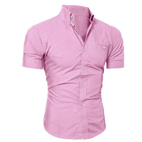 (Litetao Men Business Dress Shirt Luxury Slim Fit Short Sleeve Casual Lapel Button Top (Pink, M))
