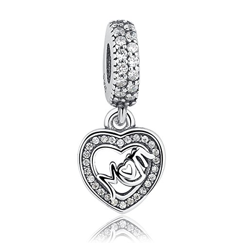 The Kiss Love Mom Mother Center of My Heart 925 Sterling Silver Bead Fits European Charm Bracelet (Mom Dangle - Heart Charm Mom 1