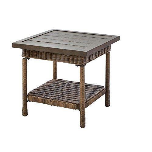 Hampton Bay Beacon Park Steel Wicker Outdoor Accent Table (Hampton Chairs Outdoor Bay Wicker)