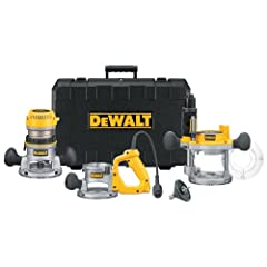 Offering excellent versatility and professional grade quality, the DEWALT DW618B3 router kit includes three bases that can tackle a wide variety of jobs: a fixed base, a plunge base, and a D-handle base for more precise handling. It f...